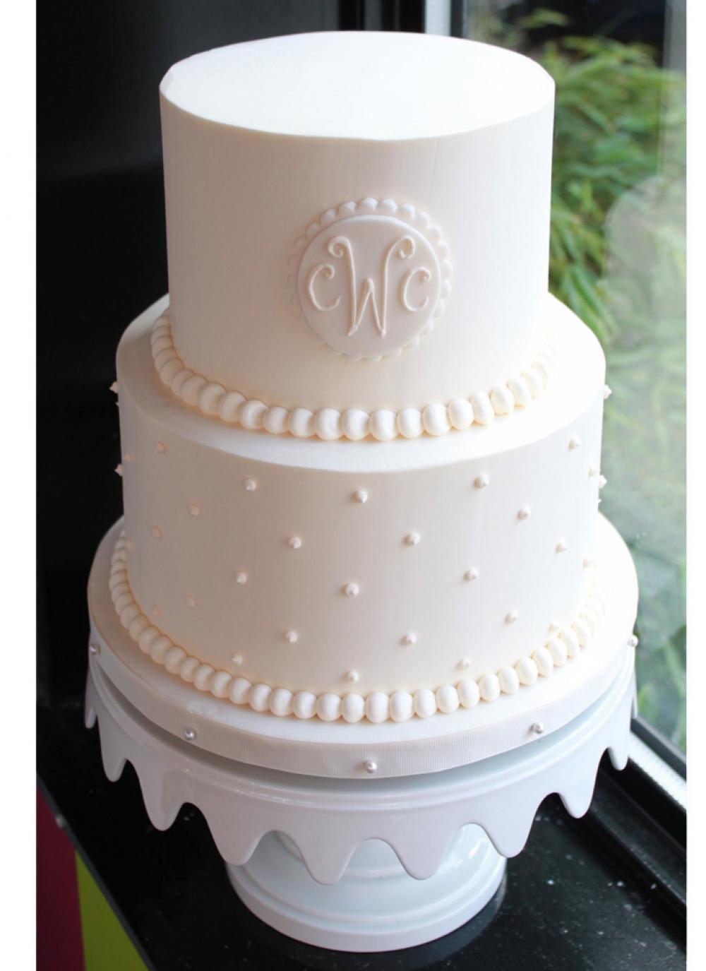 Swiss Dot Wedding Cakes  Whipped Bakeshop Philadelphia Monogrammed Swiss Dot