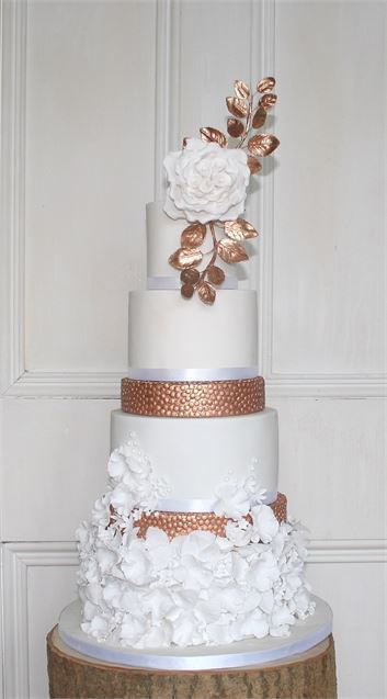 Tall Wedding Cakes  White & Copper Tall Wedding Cake from Caked Patisserie