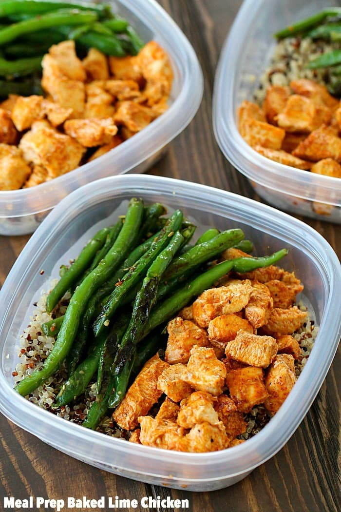 Tasty Healthy Lunches  Meal Prep Baked Lime Chicken Bowls Yummy Healthy Easy