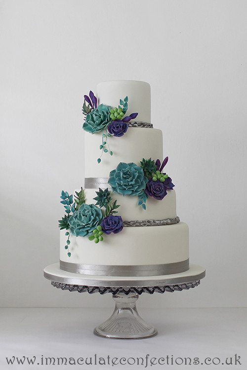 Teal And Purple Wedding Cakes  Teal and Purple Succulent Wedding Cake Cakes by Natalie