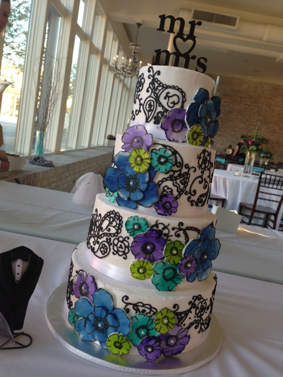 "Teal And Purple Wedding Cakes  ""Elizabeth Ann"" Paisley & watercolor daisy wedding cake in"