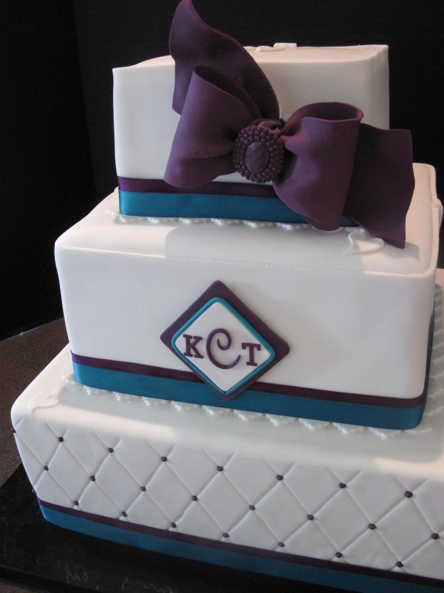 Teal And Purple Wedding Cakes  Teal purple Square Wedding Cake CakeCentral
