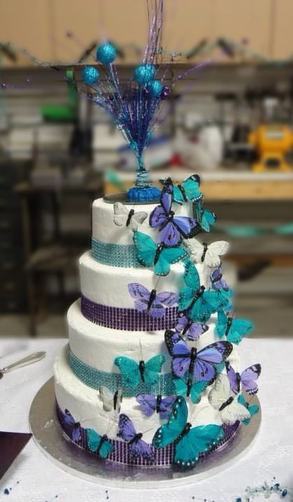 Teal And Purple Wedding Cakes  Purple and Teal Wedding cake Hy Vee cake Butterflies