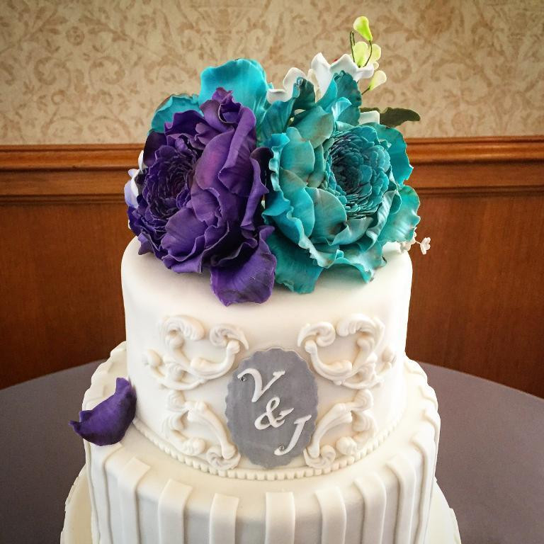 Teal And Purple Wedding Cakes  You have to see Purple and Teal Wedding Cake by redgbee