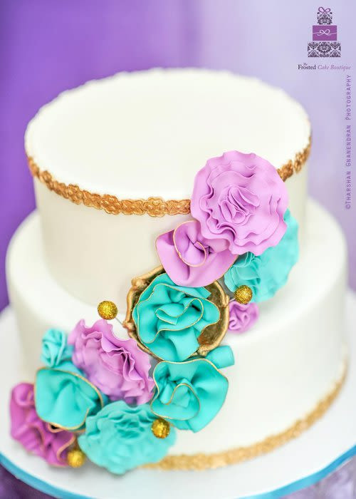 Teal And Purple Wedding Cakes  Teal & Purple Wedding Cake Cake by Esther Williams