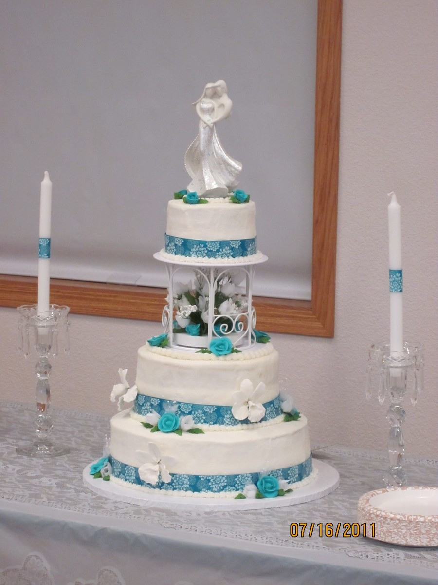 Teal And White Wedding Cake  Teal And White Wedding CakeCentral