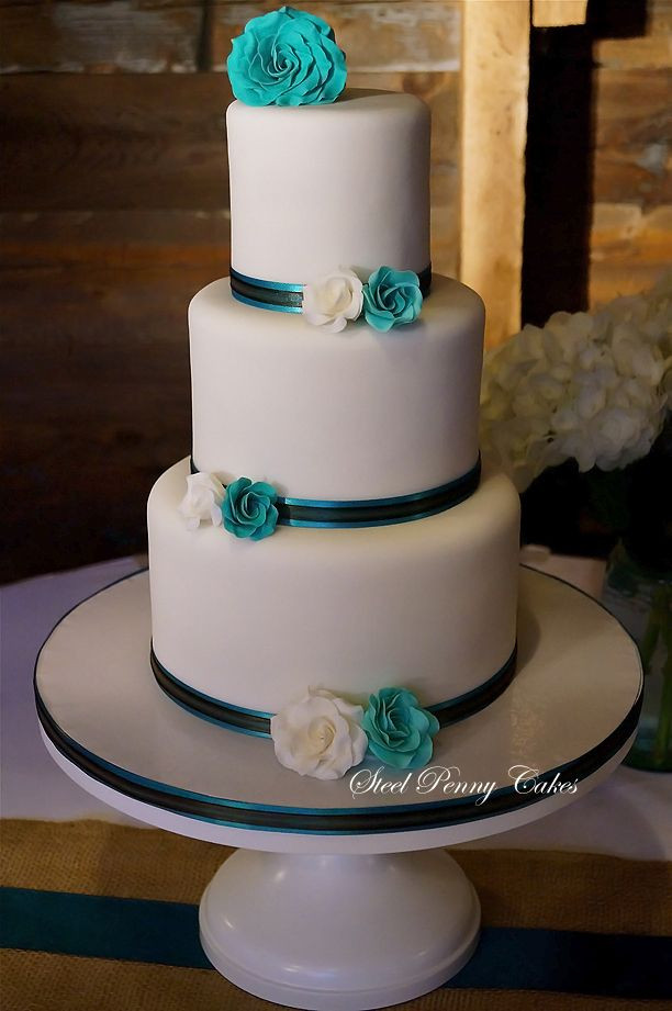 Teal And White Wedding Cake  25 best ideas about Teal wedding cakes on Pinterest
