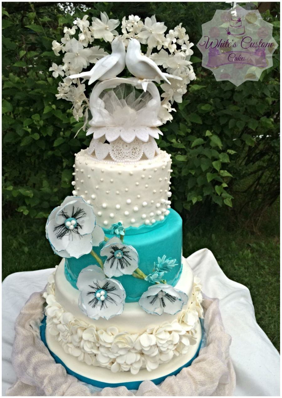 Teal And White Wedding Cake  Teal And White Wedding Cake CakeCentral