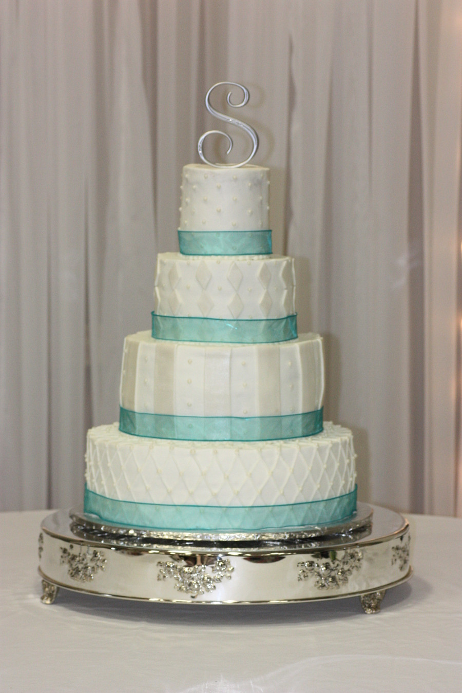 Teal And White Wedding Cake  Teal Ribbon Round White Wedding Cake CakeCentral