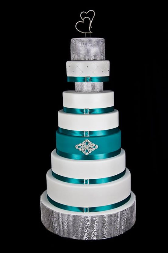 Teal And White Wedding Cake  White Teal and Silver Wedding Cake