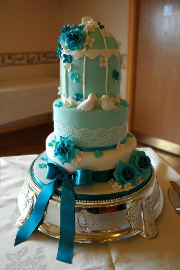 Teal And White Wedding Cake  Teal & white birdcage wedding cake Cake by Wendy