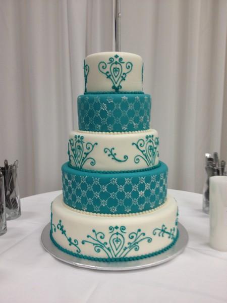 Teal And White Wedding Cakes  TracyCakes Little Rock AR Wedding Cake