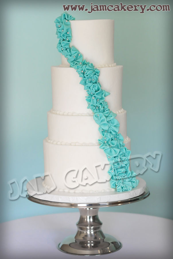 Teal And White Wedding Cakes  White and Teal Wedding Cake J A M Cakery