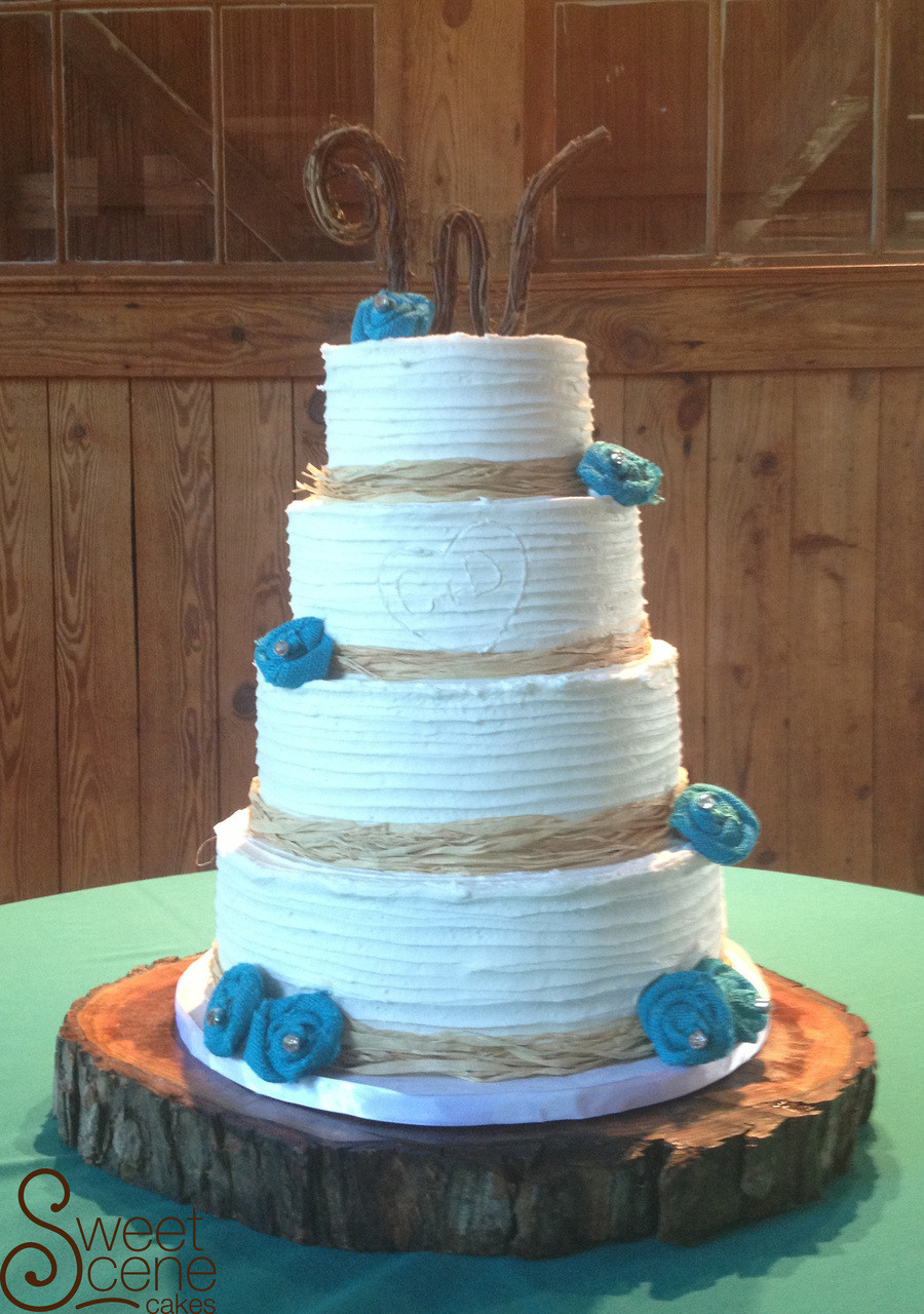 Teal And White Wedding Cakes  Rustic Teal Wedding Cake CakeCentral
