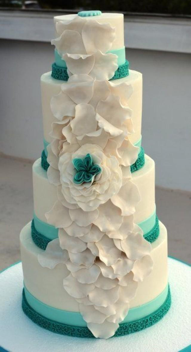 Teal And White Wedding Cakes  Teal Wedding Teal And White Wedding Cake Weddbook