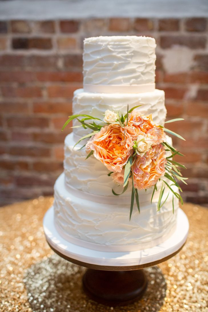 Textured Buttercream Wedding Cakes  Textured Buttercream Wedding Cake with Peach Peony Accents