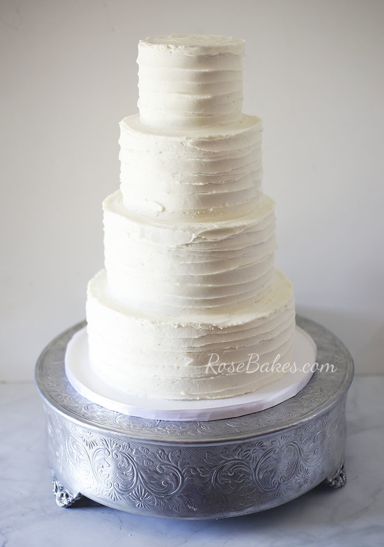 Textured Buttercream Wedding Cakes  Textured Wedding Cake with Ruscus & Hydrangea Rose Bakes