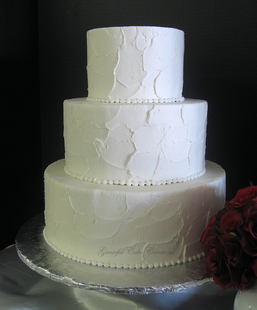 Textured Buttercream Wedding Cakes  Simple Elegant Textured Buttercream Wedding Cake a photo