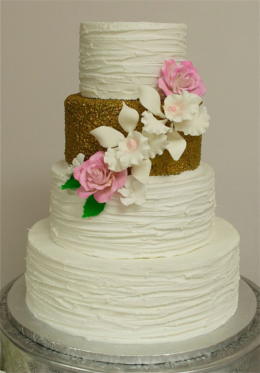 Textured Buttercream Wedding Cakes  Textured Buttercream & Gold Wedding Cake CakeCentral