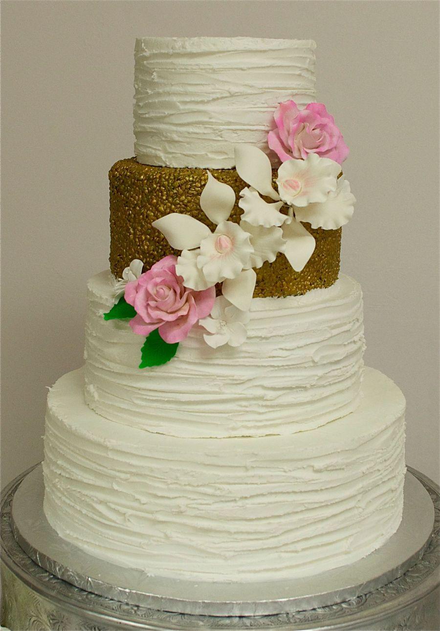 Textured Wedding Cakes  Textured Buttercream & Gold Wedding Cake CakeCentral