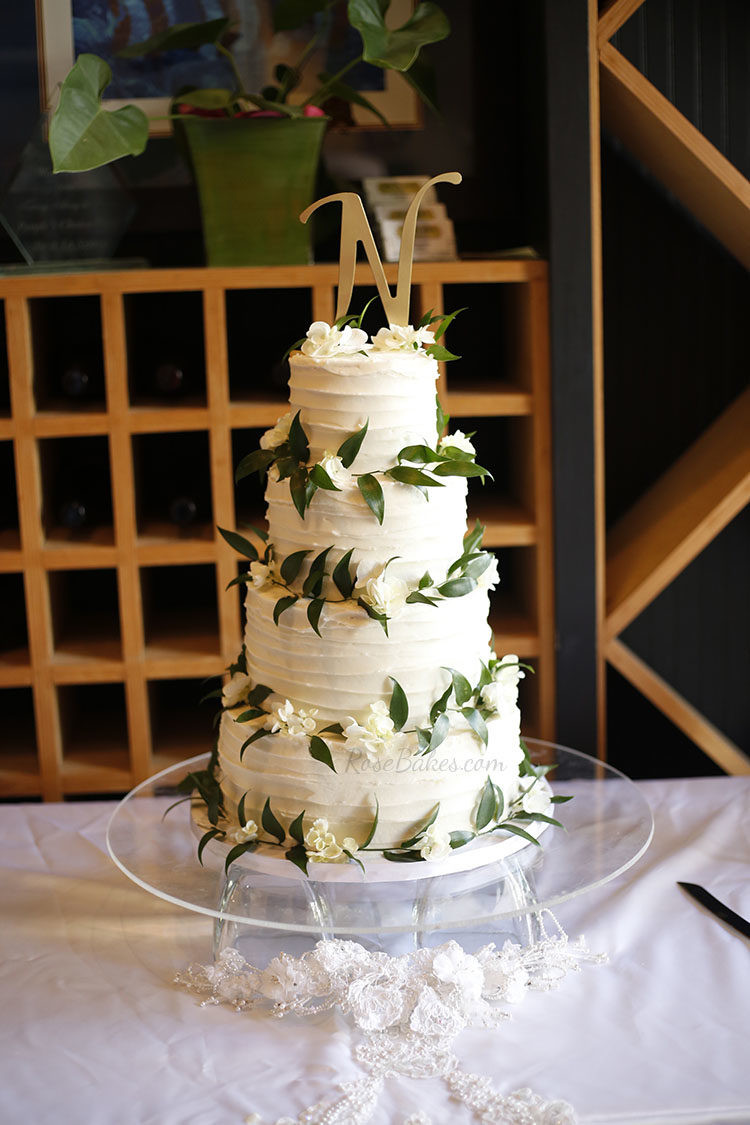 Textured Wedding Cakes  Textured Wedding Cake with Ruscus & Hydrangea Rose Bakes