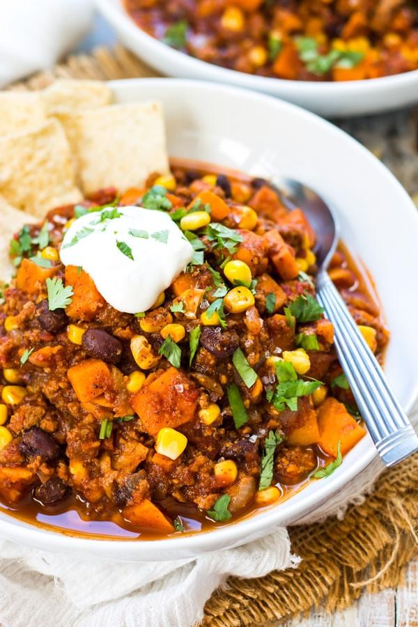 Thanksgiving Sweet Potatoes Recipes Healthy  Healthy Sweet Potato Ground Turkey Chili