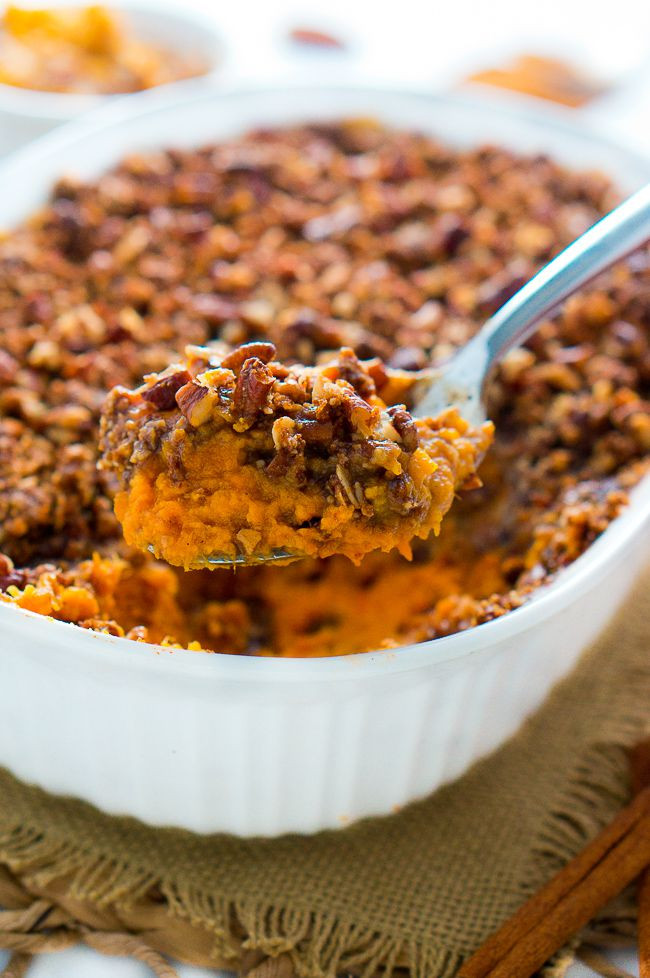 Thanksgiving Sweet Potatoes Recipes Healthy  Healthy Sweet Potato Casserole with Pecan Topping