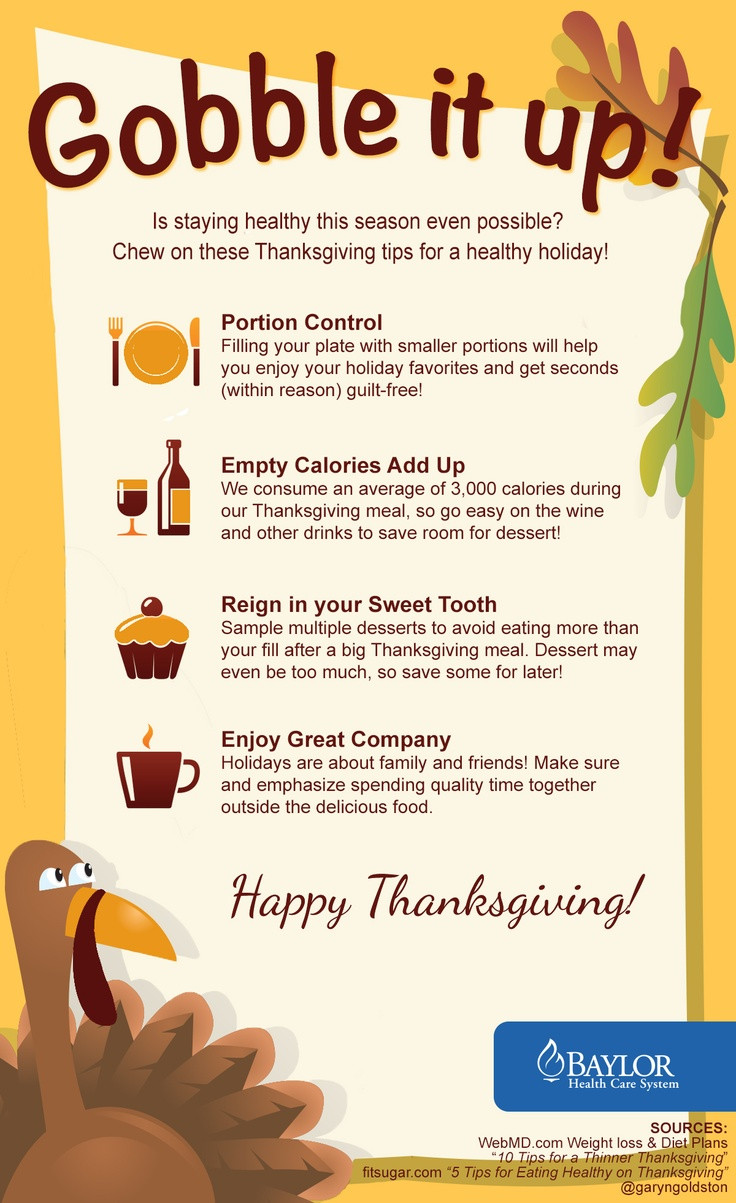 Thanksgiving Tips For Healthy Eating  Baylor Health Care System would like to wish everyone a