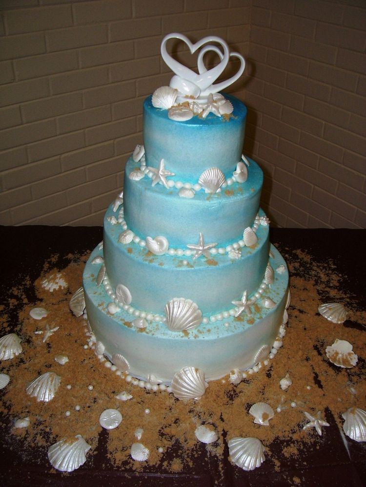 Themed Wedding Cakes  Blue beach themed wedding cakes