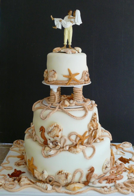 Themed Wedding Cakes  Ocean beach Themed Wedding Cake CakeCentral