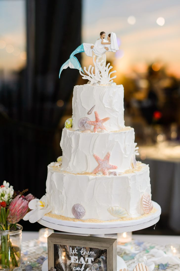 Themed Wedding Cakes  Beach Themed Wedding Cake With Mermaid Cake Topper