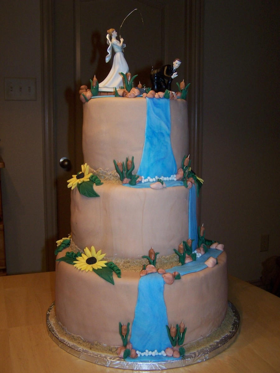 Themed Wedding Cakes  Rustic Fishing outdoors Themed Wedding Cake CakeCentral