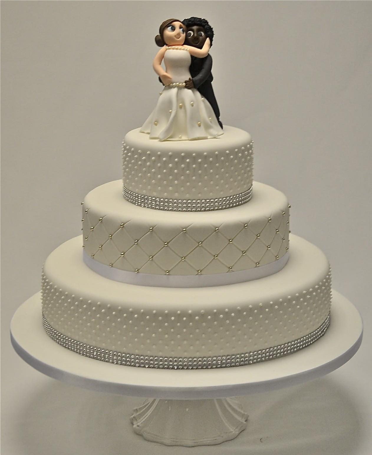 Three Tear Wedding Cakes  3 Tier Piped Dots and Diamante Wedding Cake Wedding