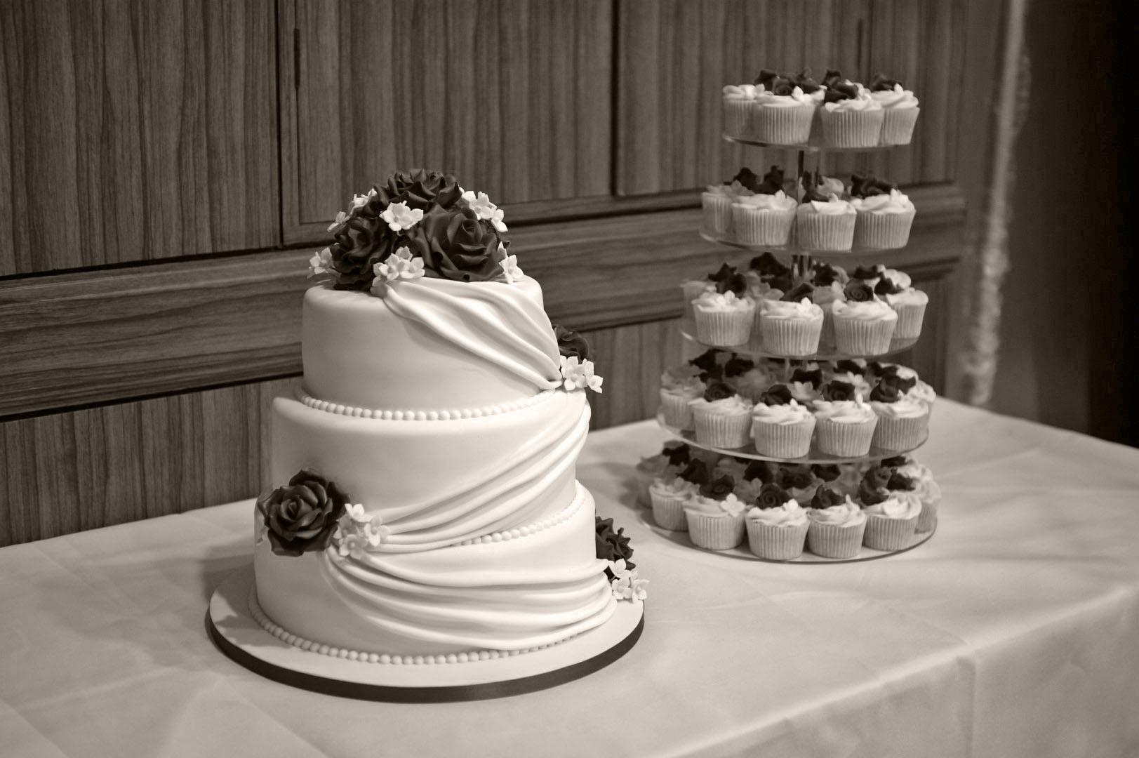 Three Tear Wedding Cakes  3 Tier Wedding Cake with Cupcake Tower Bakealous