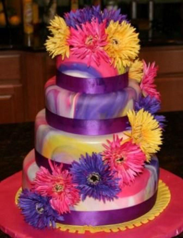 Tie Dye Wedding Cakes  Tie Dyed Wedding Cake CakeCentral