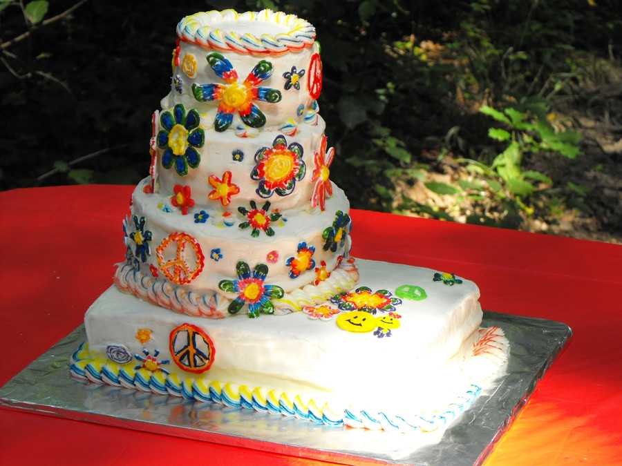 Tie Dye Wedding Cakes  Tie Dye Wedding Cake CakeCentral