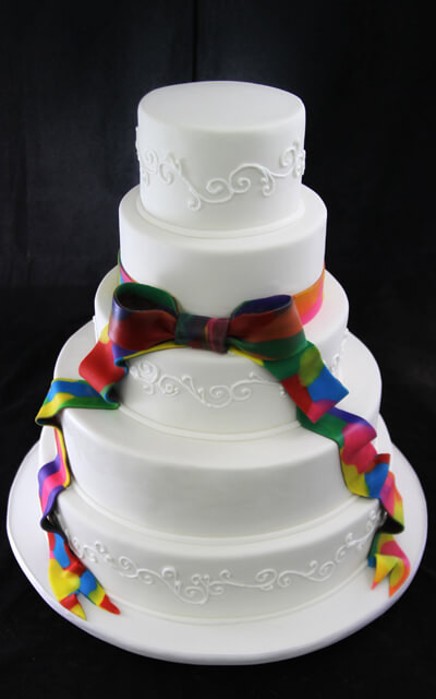 Tie Dye Wedding Cakes  Tie Dye Ribbon Wedding Cake Butterfly Bake Shop in New York