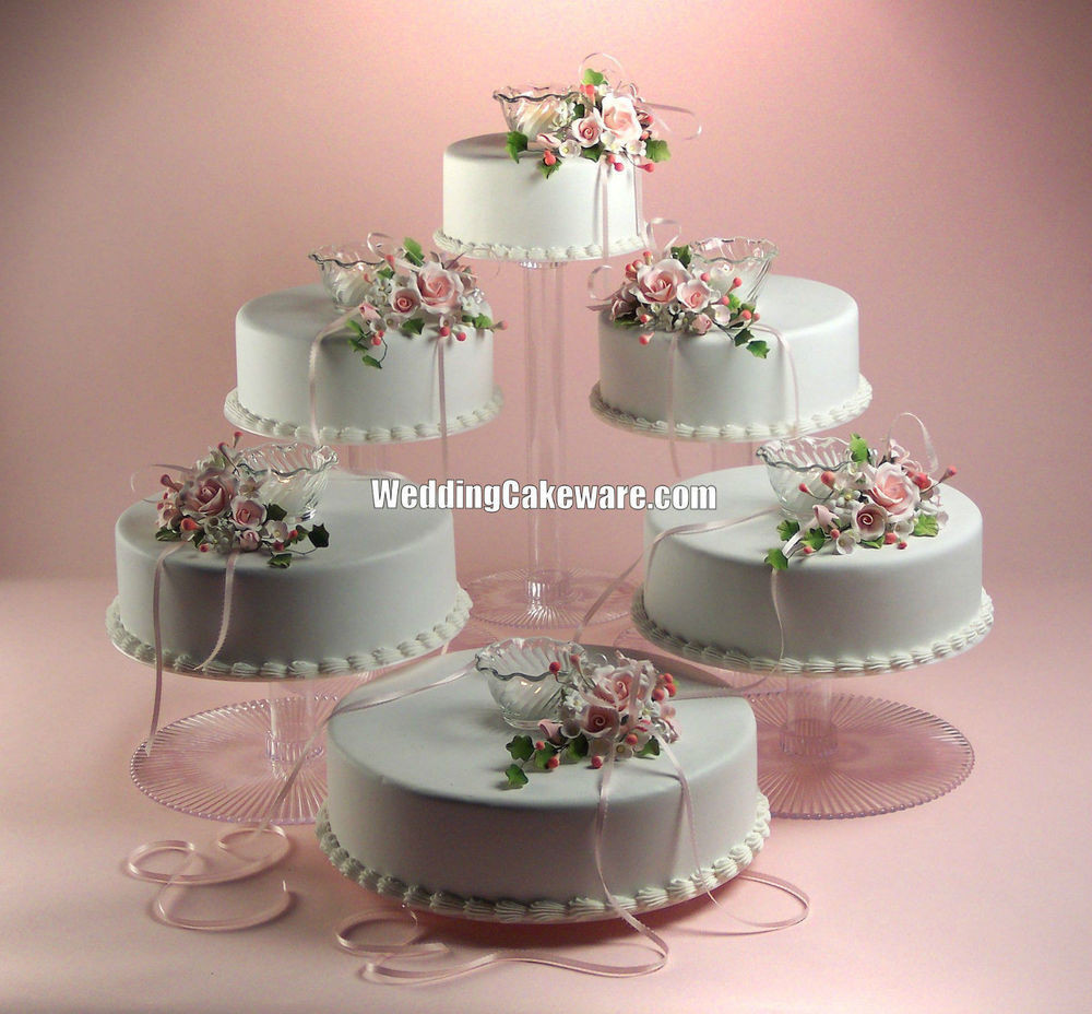Tiered Wedding Cakes  6 TIER CASCADING WEDDING CAKE STAND STANDS SET
