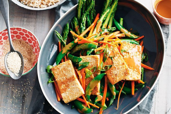 Tofu Recipes Healthy  Sesame crusted tofu with spring vegie salad