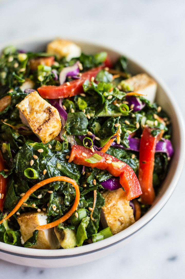 Tofu Recipes Healthy  Kale Salad with Fried Tofu and Miso Ginger Dressing