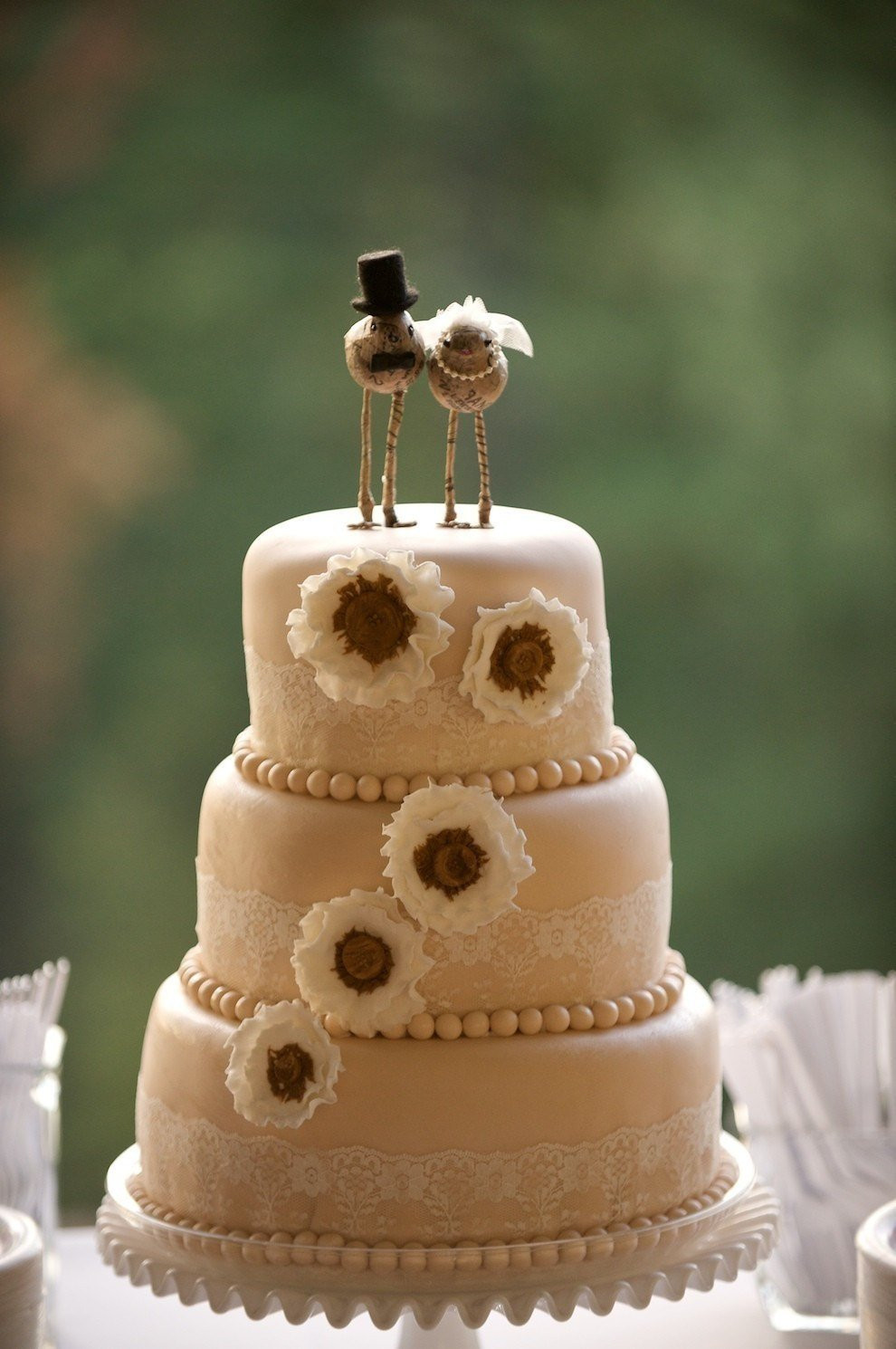 Toppers For Wedding Cakes  Love Bird Bride and Groom Cake Toppers