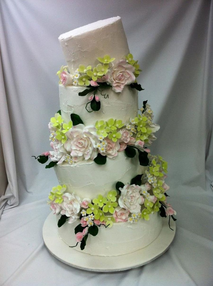 Topsy Turvey Wedding Cakes  Four Tier Topsy Turvy Wedding Cake With Sugar Flowers