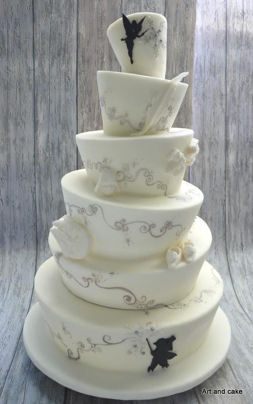 Topsy Turvey Wedding Cakes  Wedding cake topsy turvy Tinkerbell Vs star Wars cake