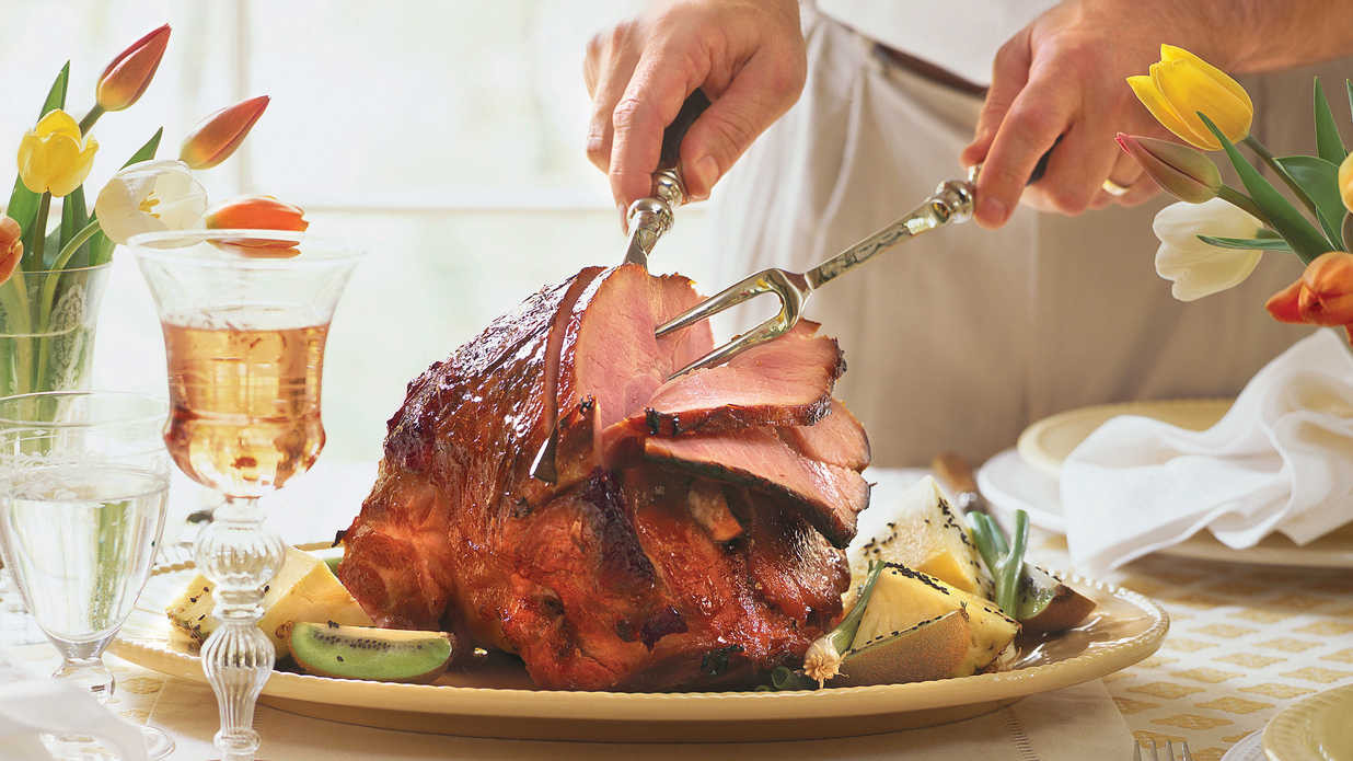 Traditional American Easter Dinner  Sweet Hot Plum Glazed Ham Traditional Easter Dinner