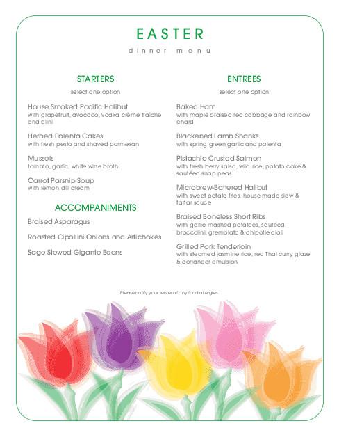 Traditional Easter Dinner Menu  Traditional Easter Brunch Menu