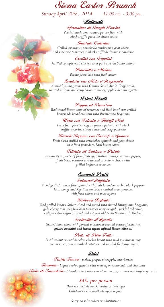 Traditional Easter Dinner Menu  Chef Harvey's ITALIAN EASTER MENU