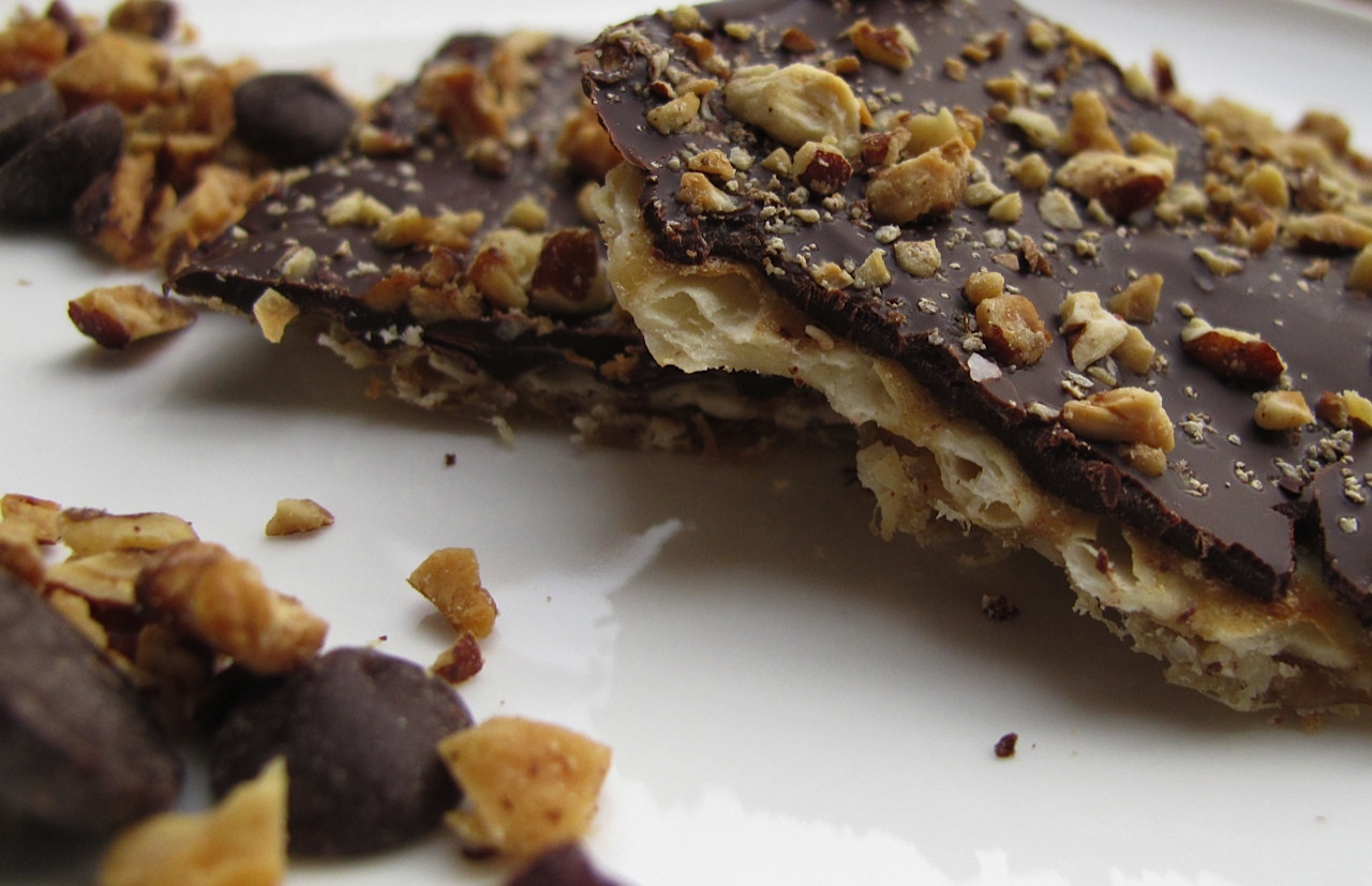 Traditional Passover Desserts  Chocolate covered Matzo with Toasted Nuts and Sea Salt