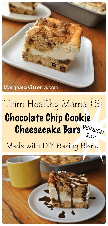 Trim Healthy Mama Desserts  Trim Healthy Mama Chocolate Chip Cheesecake Bars Version