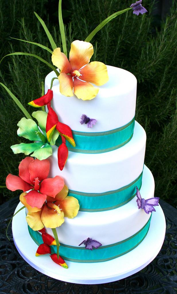 Tropical Wedding Cakes  Wedding Flowers wedding cake with tropical flowers