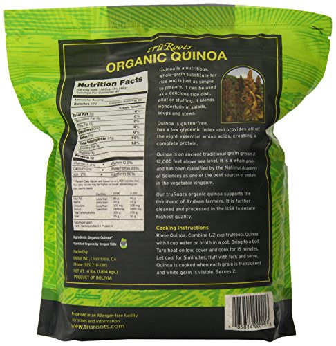 Truroots Organic Sprouted Rice And Quinoa Blend Bag 3 Lbs  truRoots Organic Quinoa Whole Grain Premium Quality
